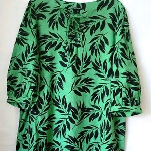 Who What Wear Green Black Island Palm Floral Dress
